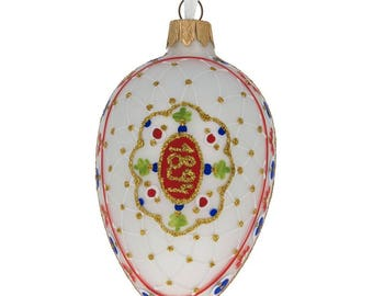 "4"" 1894 Renaissance Faberge Easter Egg Glass Christmas Ornament"