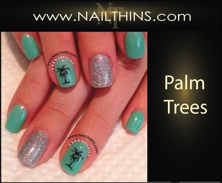🔎zoom - Palm Tree Nail Decal Tropical Nail Designs NAILTHINS