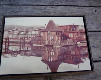 Vintage Photograph Sausalito Houseboat  West Pier Floating Home Framed 1970s Counter Culture Sepia Tone Nautical Some Wear