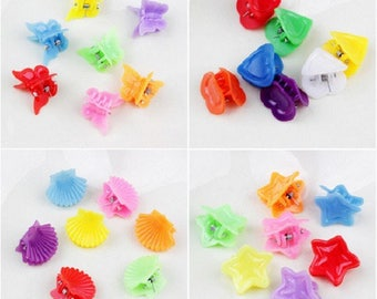 Mini clips to hair, random colors and patterns