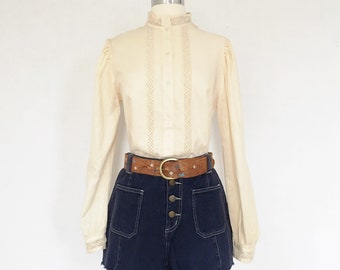 Vintage Linen Patti Smith Poet Blouse Lace Linen Edwardian Gunne Sax Style Sz Md