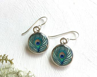 Peacock Feather, Feather Earrings, Peacock print, Spiritual guidance, Eyes of the stars