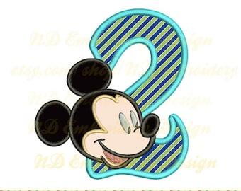 Micky Maus 2. Geburtstag Stickerei Applique Maschinenkonzept Mickey Kopf Zahl 1-9-Auswahl, ms-093-2