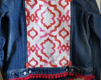Embellished jean jacket, upcycled jean jacket, pink jacket, red jacket, ecofashion