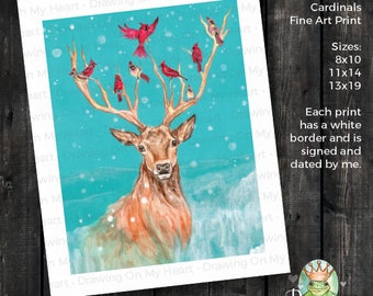 Deer Fine Art Print - Original Hand Painted Watercolor - Stag with Cardinals - 8x10 - 11x14 - 13x19