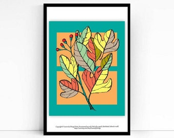 Colorful Sassafras printed autumn leaves -8x10 fall art print - kids room decor - kids wall art - nursery decor - pen and ink drawing - blue