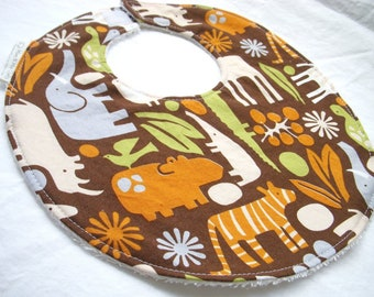 2D Zoo - Chocolate - Baby Boy Bib - Zoo Animals in orange brown green - Cotton bib with hook and loop closure