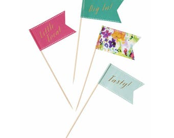Tropical Fiesta Food Picks, Tropical Cake Toppers, Summer Party Food Picks, Party Tableware, Birthday Cupcake Picks, 24 Pack