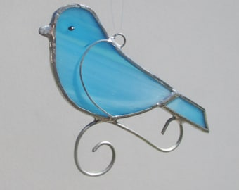Turquoise Blue Stained Glass Songbird Home Decor Suncatcher or Christmas Holiday Ornament
