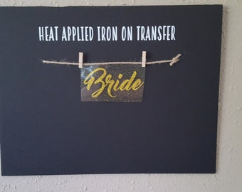 """Sale (HT-148) 2.75"""" high x 5.5"""" wide Bride Gold Glitter Heat Applied T-Shirt Fabric Transfer Decal Ready to Ship"""