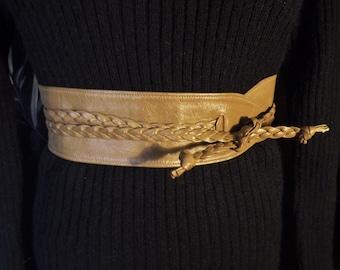 Obi Belt, Leather Belt, Adjustable Sash Belt, Vintage Wrap Belt, Womens Brown Designer Belt, Braided Closure Tie