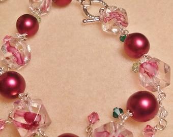 Cranberry Strawberry Swirl Bracelet