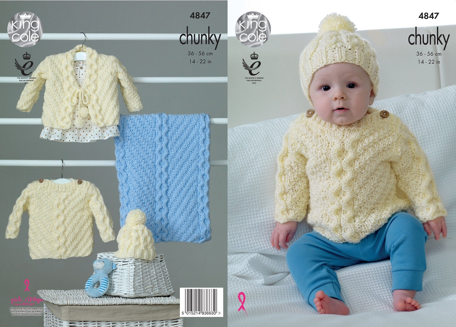 554020ff2d6d King Cole Chunky knitting pattern no 4847 Baby Sweater