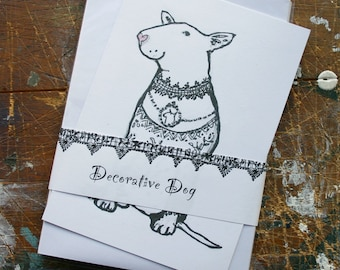 """Bull Terrier Notecards Pack of 5 """"Decorative Dog"""""""