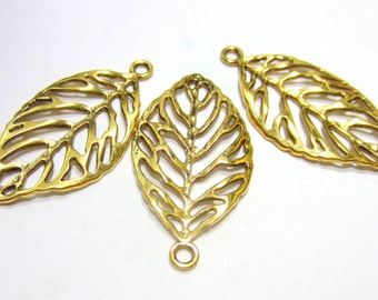 10 Gold leaf charms necklace pendants jewelry dangles jewelry making pendants open work  Hp1912-CC1