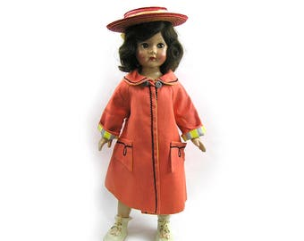 """Vintage 1950s Doll Coat and Straw Hat for 18"""" - 24"""" Dolls Doll Coat and Straw Hat"""