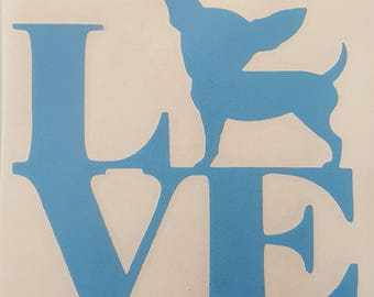 Blue Love Decal for your chihuahua Dog