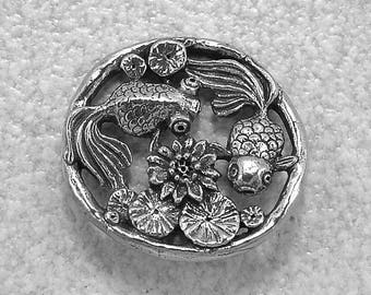Green Girl Studios Large Pewter Goldfish Filigree Pendant Link