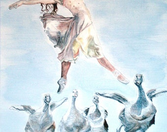 A Giclee print of 'Tendu', ballerina and goslings in  step with each other