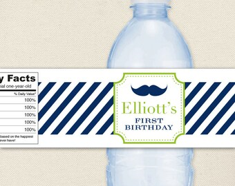Mustache Bash - 100% waterproof personalized water bottle labels - Various color schemes