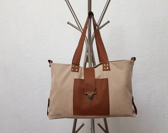 Brown beige canvas and leather tote bag