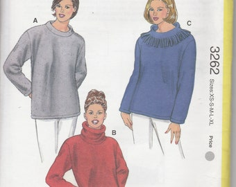 Pullover Top Pattern Designed for Stretch Knits Misses Size XS - S - M - L - XL Uncut Kwik Sew 3262