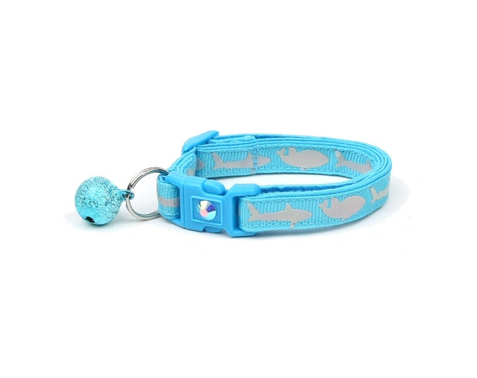 Shark Cat Collar - Silver Sharks on Tropical Blue - Kitten or Large Size - Nautical