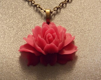 Hot Pink Victorian Rose Pendant Necklace