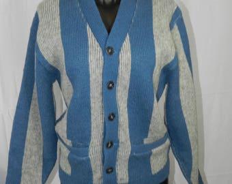Vintage Striped Grandpa Cardigan Sweater
