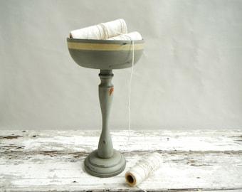 Painted Wood Pedestal Bowl. In Rustic Ocean Green with Cream Stripe