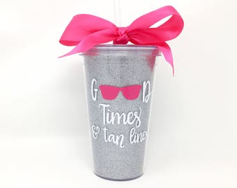 Good Times and Tan Lines Cup, Beach Bachelorette Party, Bachelorette Cruise, Personalized Vacation Cup, Girls Weekend Tumbler, Good Vibes