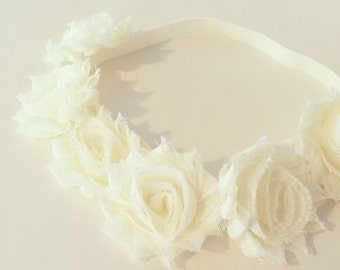 Ivory Flower Crown Headband   Ivory Flower Crown Headband for Baby Toddlers Girls Adults, Cream Ivory Flower Girl Crown, Baptism Birthday