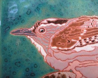 Troglodyte à l'affût de tuiles, COMMANDE - délai de 4 à 6 semaines, style Arts and Crafts, ornithologues, cuisine, salle de bain, foyer ou encadrée