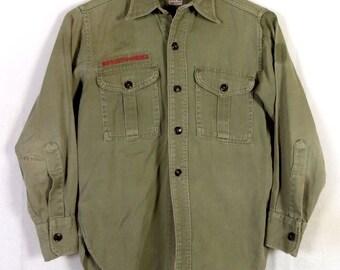 vtg 50s BSA Boy Scouts of America Soft Twill Uniform Shirt Sanforized gussets XS