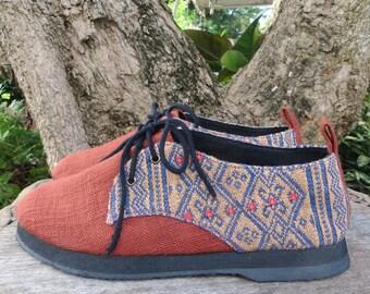 Vegan Womens Shoes Oxfords In Natural Hemp & Naga Tribal Embroidery- Alexa