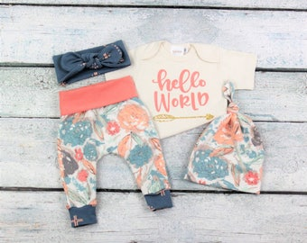 baby girl coming home outfit/newborn girl/floral outfit/hello world outfit/going home set