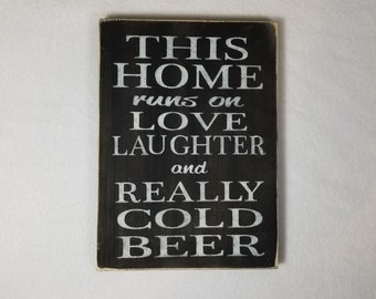 Handpainted Wood Sign, Cold Beer Wood Typography Word Sign, Painted Sign, Home Decor, Farmhouse Shabby Chic Distressed Sign