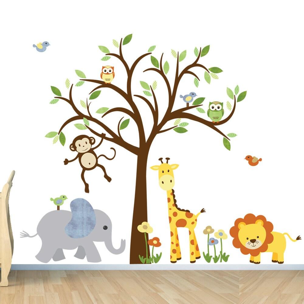 Kids room wall decal safari animal decal nursery wall decal zoom amipublicfo Image collections