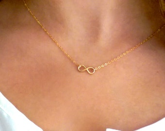 Gold Infinity Necklace, Infinity Pendant, 14k Gold Fill, Layering Necklace, Infinity Charm, Gold Necklace