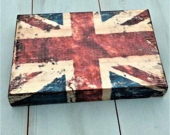 Union jack flag canvas style wooden plaque