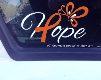 Hope With Orange Ribbon And Butterfly Window Decal (Kidney Cancer, Kidney Disease, Leukemia, Melanoma, Multiple Sclerosis, Skin Cancer)