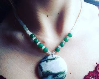 Moss Agate Necklace with Moonstone & Aventurine Beads - OOAK