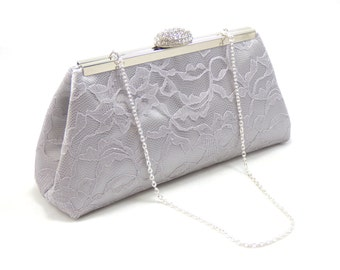Bridesmaid Gift, Bridesmaid Clutch, Silver, Platinum Grey and Silver Paisley Bridal Clutch, Custom Wedding Clutch, Mother of the Bride Gift