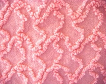 Cabin Craft Pink Needletuft Squiggle Vintage Chenille Fabric