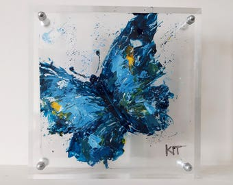 Plexiglass art butterfly painting Gift for mom Mothers day gift Living room decor Original painting wall art Acrylic painting Butterfly art