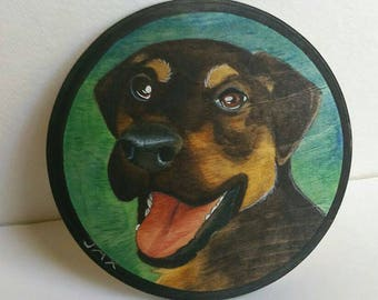 Custom pet portrait on wood, made to order