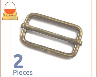 "1.5 Inch Moving Bar Purse Strap Slides, Antique Brass / Bronze Finish, 2 Pieces, 1-1/2"", 1-1/2 Inch, Handbag Purse Hardware, BKS-AA035"