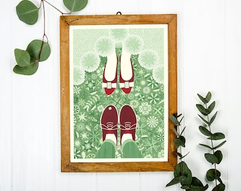 Newlyweds Art Print A3 - Wedding gift, Housewarming Gift, Christmas Gift, Couples Gifts, Home Decor, Wall Art - Inspired by Lithuania Series