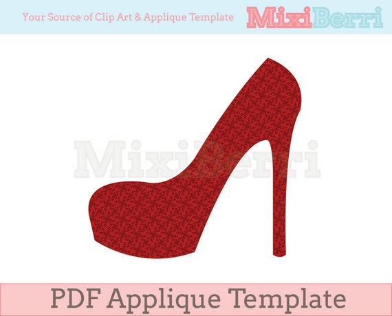 Items similar to High Heel Applique Template PDF Instant Download on ...