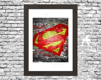 Superman Graffiti Wall Art Printable Instant Download